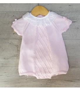 Pelele rosa en punto de hilo algodón 100%